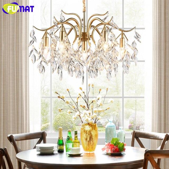 FUMAT American Crystal Chandelier Gold Metal Vintage Pastral Crystal Light For Living Room Dining Room LED Crystal Chandeliler