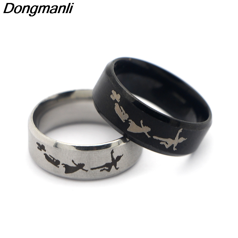 M1282 Dongmanli 2018 New Punk Style Rings Steampunk US Movie Never Grow Up Peter Pan Ring Mans Gifts Moive Jewelry For Fans