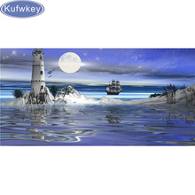 Diy Diamond Paintings Sea view Lighthouse Painting Rhinestone Diamond Embroidery