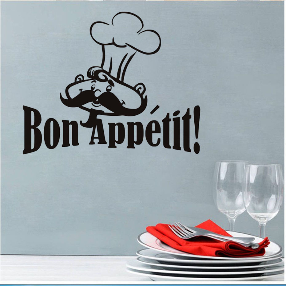 Bon Appetit Funny Cooker French Spanish Quotes Food Wall Stickers Living Room Dining Room Restaurants Kitchen Home Decoration