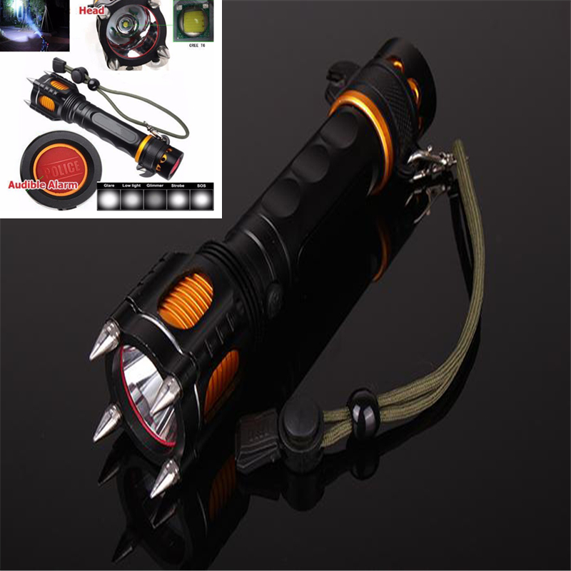 New Arrival 2000LM T6 LED Multifunctional Police Flashlight Torch Waterproof Audible Alarm Attack Hunting flashlight 5 Modes