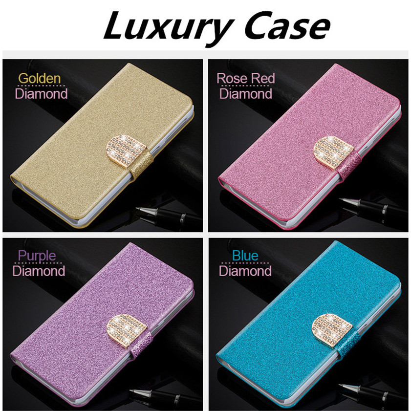 "Flip Glitter Case For Meizu M2 Note 5.5"" PU Leather Rhinestone Diamond Cover With Card Slot Wallet Pouch Phone Bag"