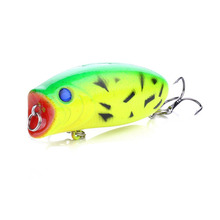 Купить с кэшбэком 1PCS 3D Eyes Lifelike Fishing Lure 6cm 10g 8# Hooks Pesca Fish Popper Lures Wobbler Isca Artificial Hard Bait Swimbait