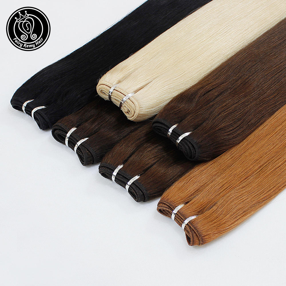 Fairy Remy Hair 18 Inch 100g/piece Double Drawn Natural Human Hair Weft Highlight Ash Blonde Straight Bundles Hair Extensions