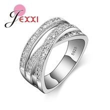 JEXXI 2017 Simple Wedding Rings For Women Shiny Elegant Cubic Zircon Jewelry 925 Sterling Silver Anniversary Engagement Ring