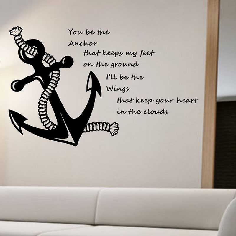 Superb Nautical Quotes Wall Stickers Anchor Home Decorative Vinyl Wall Decals  Adhesive Wall Art Stickers Living Room Bedroom Decoration In Wall Stickers  From Home ...