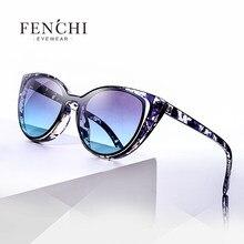 ff7ea94f5cac9 Comerciante Fenchi moda olho de gato óculos de sol das mulheres retro  perfurado feminino orelha de gato óculos de sol uv400
