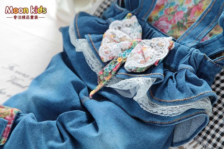 Free-shipping-spring-and-autumn-Baby-girls-bow-denim-bib-pants-infant-jumpsuit-kids-2