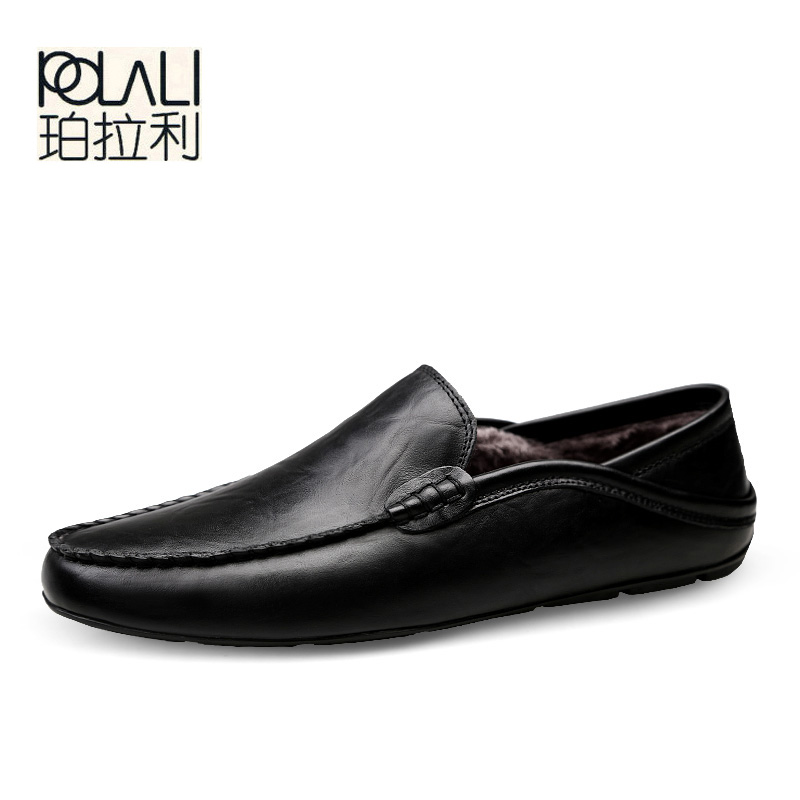 Driving Shoes Moccasins Light-Loafers Superstar Slip-On Plus-Sizes Men's Black Autumn