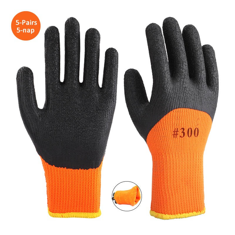 5-Pairs Winter Thermal Anti-Slip Waterproof Work Gloves Latex Rubber Coated For Garden Repairing Builder Work Safety Gloves