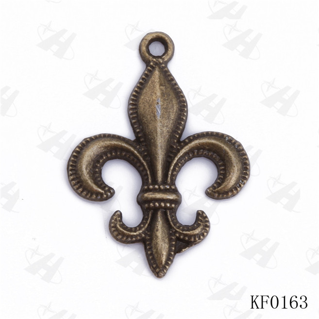 New Fleur de Lis Charm French Lily Pendant,Antique Copper Lead & Nickle Free Connector,Kolye Thomas Charms Jewelry Finding