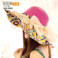 Fashion 2013womens Hats For Summer Collapsible Hat Printed Sunscreen Sun Hat Outdoors Motorcycle Beach Straw Hats