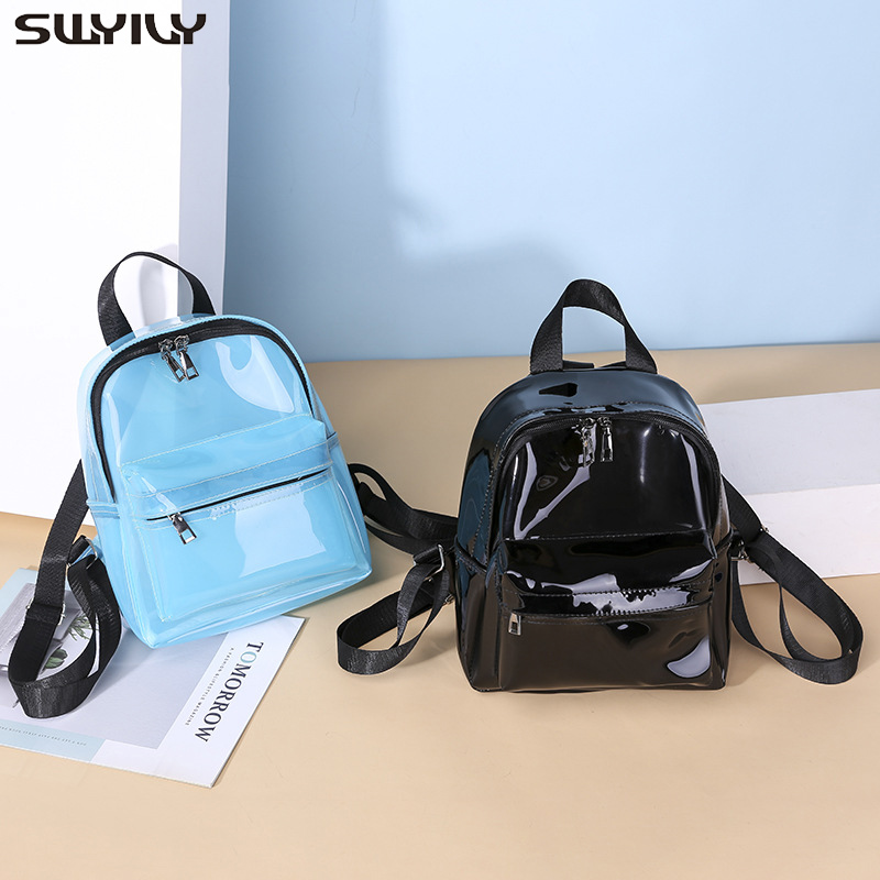 SWYIVY Plastick Jelly Shoulder Bag Woman Summer PVC Transparent Backpack Beach Holiday 2019 Lady Waterproof Backpacks For Woman 5