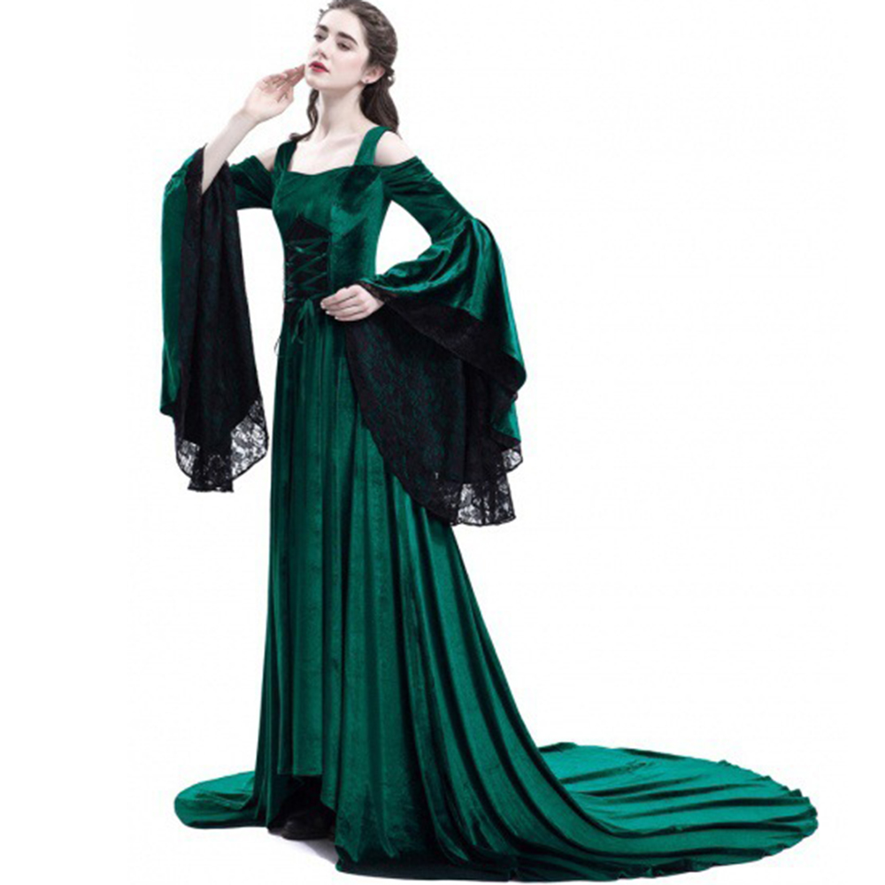 Ultimate Deal╗Maxi-Dress Flare-Sleeve Lace Medieval Retro Black Vintage Goth Elegant Women Party Green