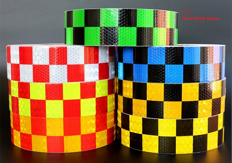 5CM*2M PVC Prystal Lattice Car Body Reflective Small Square Sticker Road Traffic Warning Self-adhesive Reflective Tape