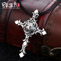 Vintage domineering tiger pendan Beier 925 silver sterling cross pendant necklace free give rope fashion Jewelry  A0826