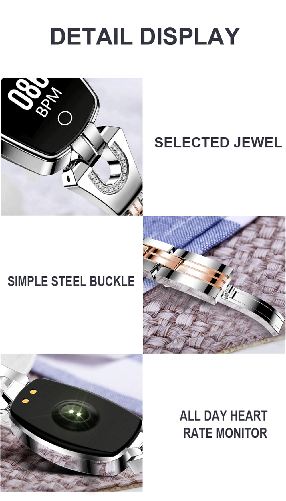 HTB1kQZwXErrK1RkSne1q6ArVVXaM Greentiger H8 Smart Bracelet Women Activity Fitness Tracker Heart Rate Monitor Blood Pressure IP67 Waterproof Smart Wristband