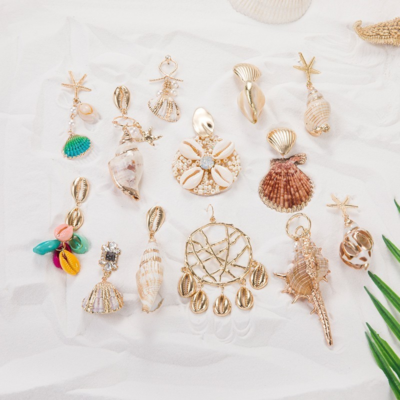 JOUVAL Summer Vacation Big Shell Earrings For Women Girl Pearl Drop Earring Hanging Female 2019 Beach Behemian Brincos Jewelry(China)