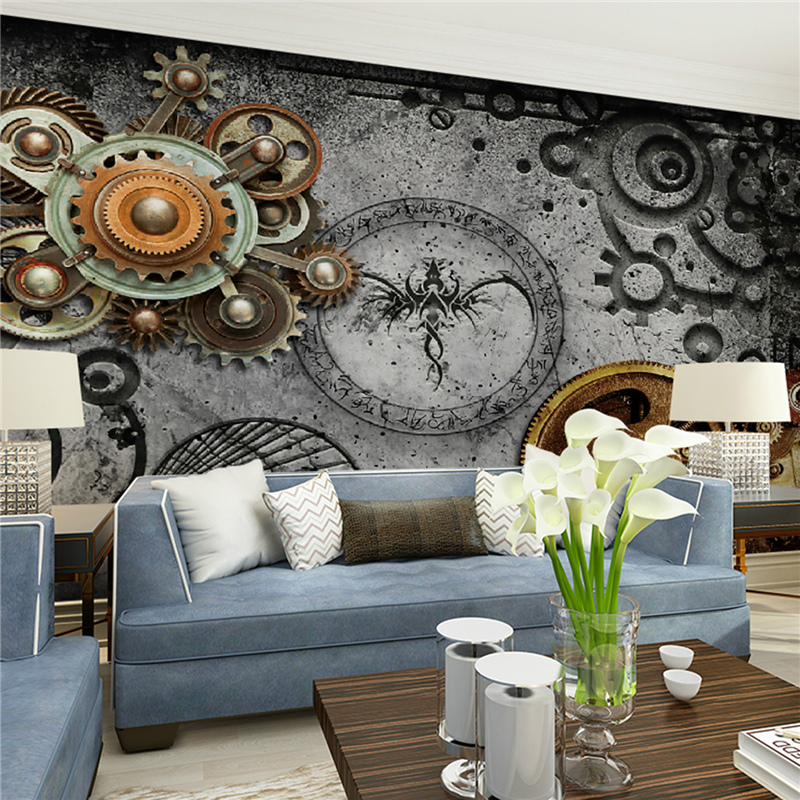 Online get cheap mechanical wallpaper for Deco metal mural