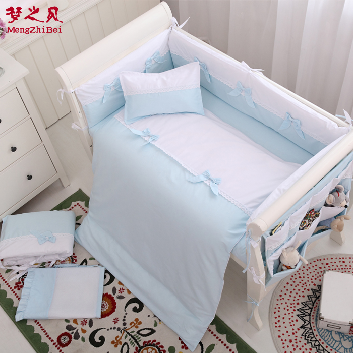 все цены на 7Pcs 100%Cotton Baby Fence Bed Sheets Thickening Babies Bumper Baby Crib Bumpers Bedding Cartoon Baby Bedding Sets Bed Safety