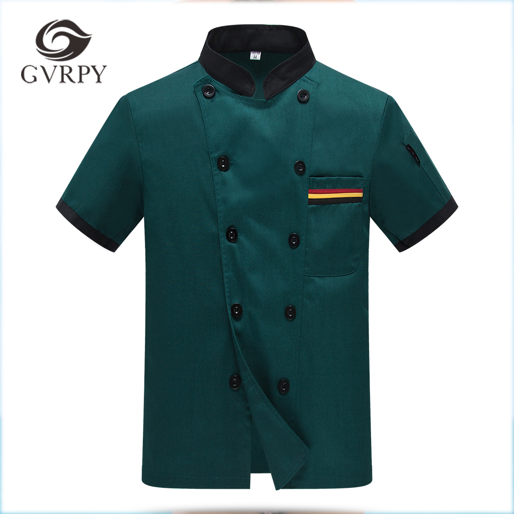 High Quality Wholesale Women Men Short-sleeve Double Breasted Kitchen Bakery Sushi Chef Jacket Restaurant Chef Cook Work Uniform