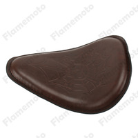Motorcycle Brown Skull Leather SOLO Saddle Seat For For Harley Honda Yamaha Kawasaki Suzuki Sportster