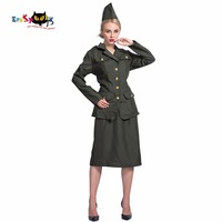 2017 New Arrival Jacket Skirt And Hat Set World War II Army Girl Halloween Cosplay Cool Women Anime Costumes For Halloween