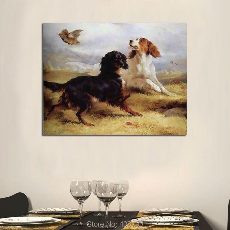 Back To Search Resultshome & Garden Shock-Resistant And Antimagnetic Home Decor Wall Art Repro Modern Abstract Hand Painted Oil Painting:two Dogs And Birds At Canvas 24x36 Inch Home Decocr Waterproof