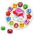 Деревянные блоки игрушки Цифровой Геометрии Clock детская Образовательная игрушка для мальчика и девочка подарок для детей рождественский подарок