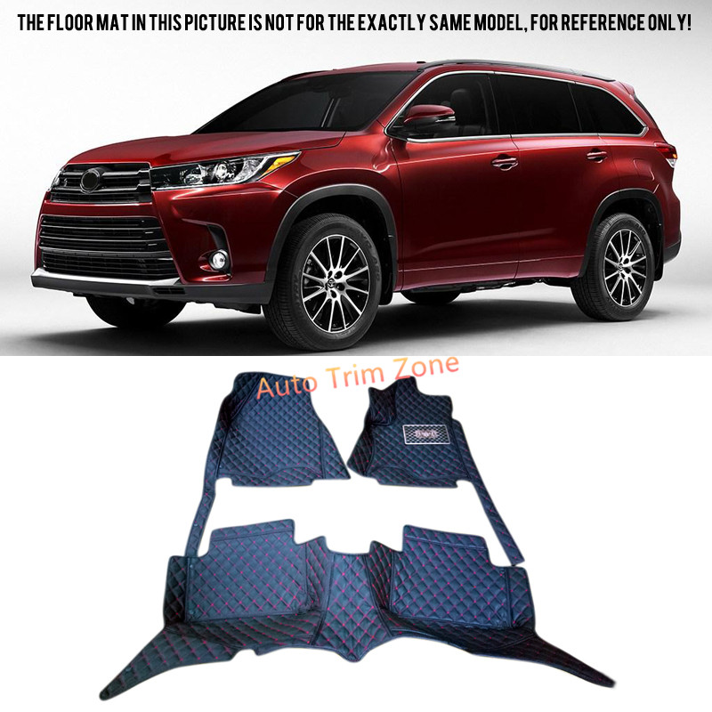 Black Interior Leather Floor Mats & Carpets For Toyota Highlander (For 7-Seat only) 2015 2016 XU50