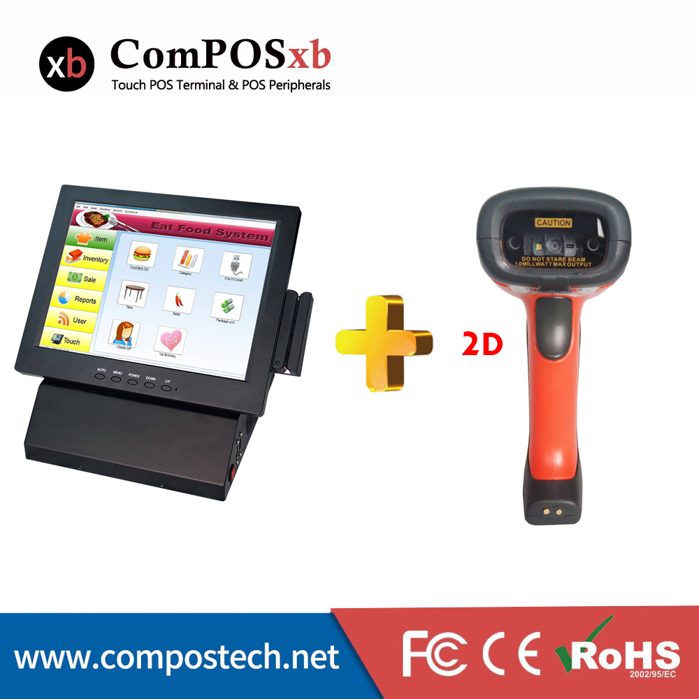Monitor Pc 12 Inch Pos All In One Restaurant Pos Terminal With QR Code scanner / 2D laser barcode scanner wireless data collector handheld barcode reader scanner laser bar code real time pos terminal nt c6