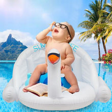 2018 New Style Summer Inflatable White Swan Swimming Ring Sun Shade Seat Lifebuoy Dropshipping Item(China)