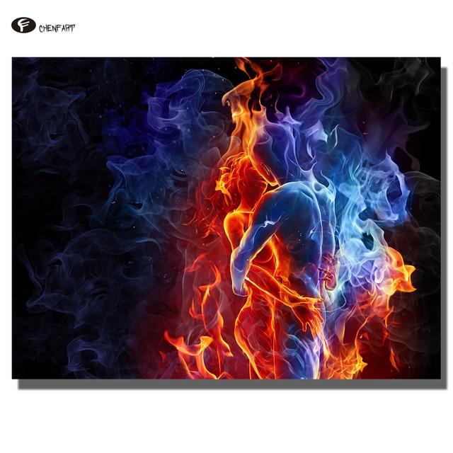 Chenfart immagini decorative rosso e blu fuoco astratta for Quadri senza cornice