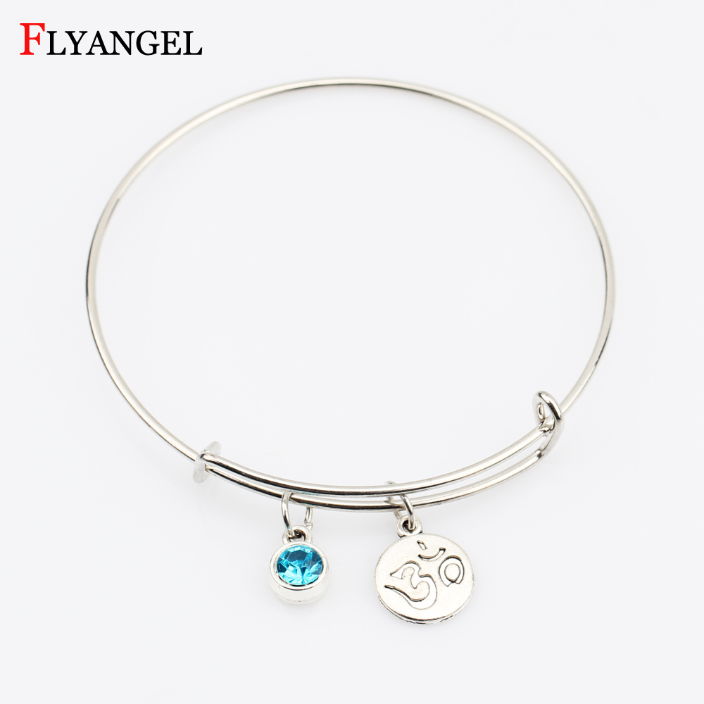 Vintage Charm Birthstone Bracelet Yoga Chakra Mala Bracelet OM Lotus Women Men Charm Adjustable Bangle Bracelet Jewelry