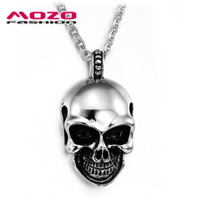 Wholesale 2016 New Hot Sale Fashion Jewelry Cool Skull Chain Men's Stainless Steel Necklaces & Pendants For Men/boys MGX807