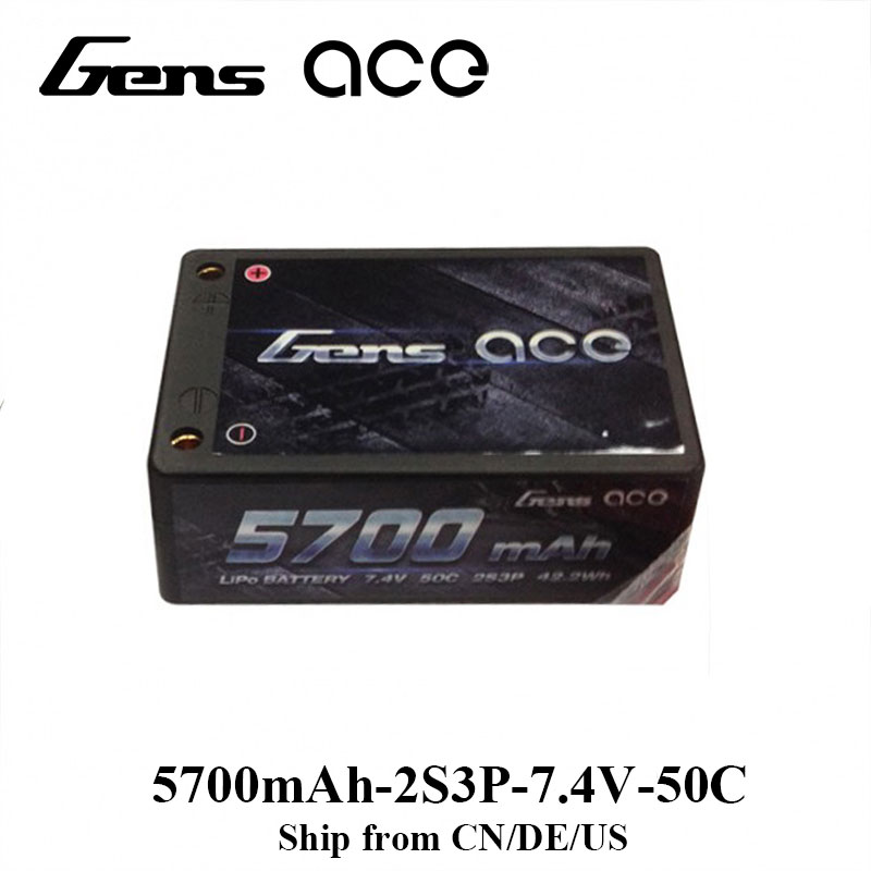 Gens ace Lipo Battery 2S3P 5700mAh Lipo 7.4V Battery Pack 50C Battery for 1/10 Car 1/8 RC Car Helicopter Drone Car Accessories gens ace lipo battery 3s 5200mah lipo 11 1v battery pack 3 5mm banana connector 10c battery fpv hobbies rc models accessories