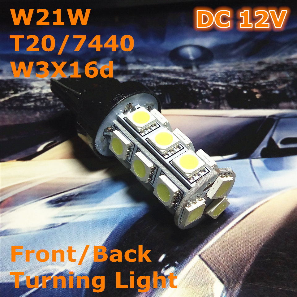 12V LED(18*5050SMD) Car Bulb Lamp W21W T20 W3X16d/7440 Single Line - Car Lights