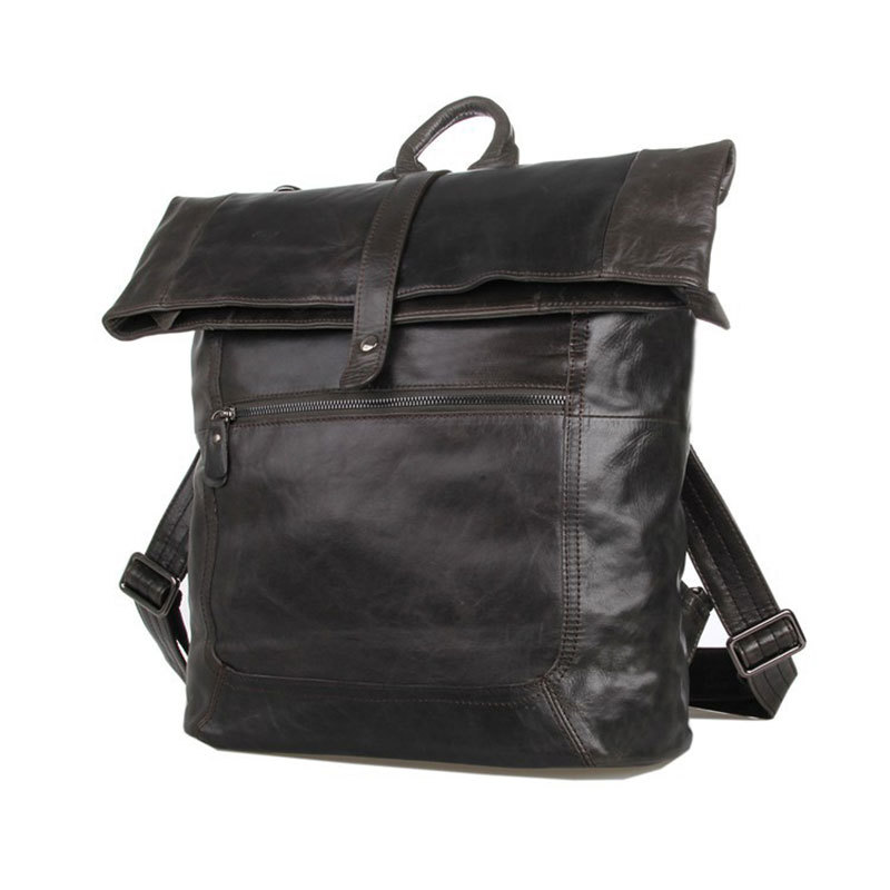 New Stylish Genuine Leather Big Capacity Cowhide Men Daily Backpack Travel Bag Schoolbag PR577204