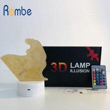 3D иллюзия динозавра 7 цветов светодиодный пульт дистанционного управления Сенсорный спальный ночник светится в темноте игрушки лампа в виде динозавра подарок на день рождения для мальчика