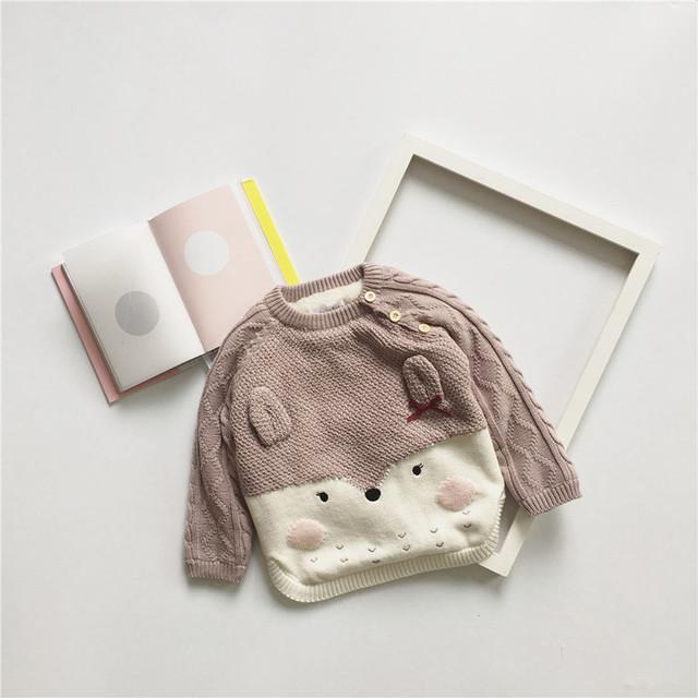 2016 niños del invierno del otoño nuevos suéteres ropa de bebé niña vestidos vetement kikikids navidad NIÑAS CONEJO ROSA SUÉTERES GRUESOS