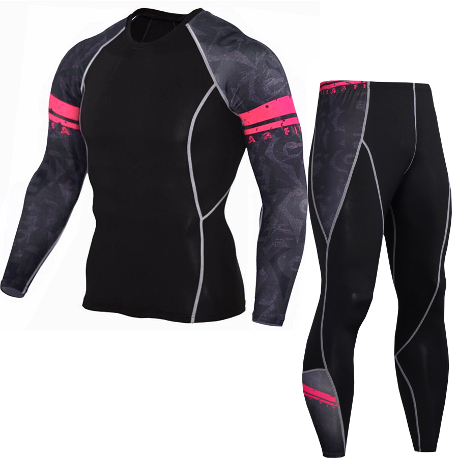 Cool 2018 Sportswear Sets Men Compression Cycling Base Layers Joggers Quick Dry Trousers Fitness Crossfit Mens Leggings MMA Fash