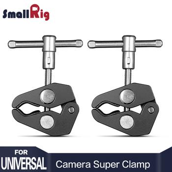 SmallRig ze stopu aluminium podwójne szczypce krabowe klip super zacisk na statyw dslr Monitor LCD lampa studyjna Magic Arm Camera tanie i dobre opinie 2058 Black Metal Camera Super Clamp