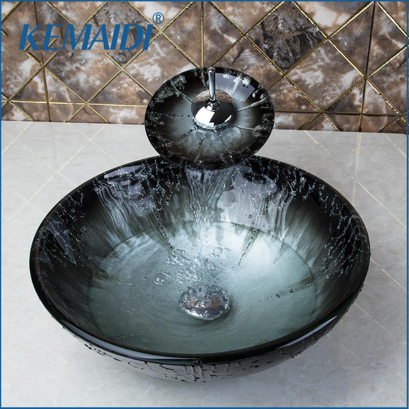 KEMAIDI Bathroom Sink Washbasin Tempered Glass Hand-Painted Waterfall Lavatory Bath Combine Brass Set Faucet Mixers & Taps kemaidi us waterfall spout basin tap bathroom sink washbasin tempered glass hand painted 4094 1bath brass set faucet mixer taps