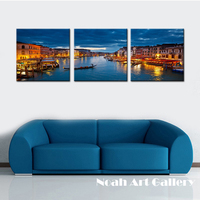 Noah Art Frameless Waterproof Canvas Prints Oil Painting Venice City Night Scape Wall Picture Spray