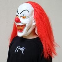 2018 Halloween Cosplay Horror Latex Masks Women Masque Party Masks Red Long Hair Clown Men Head Masks Hairpiece