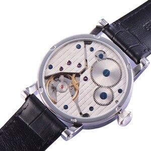 Image 5 - 42mm PARNIS niebieskie dłonie GMT faza księżyca ręczne nakręcanie ruch męski zegarek