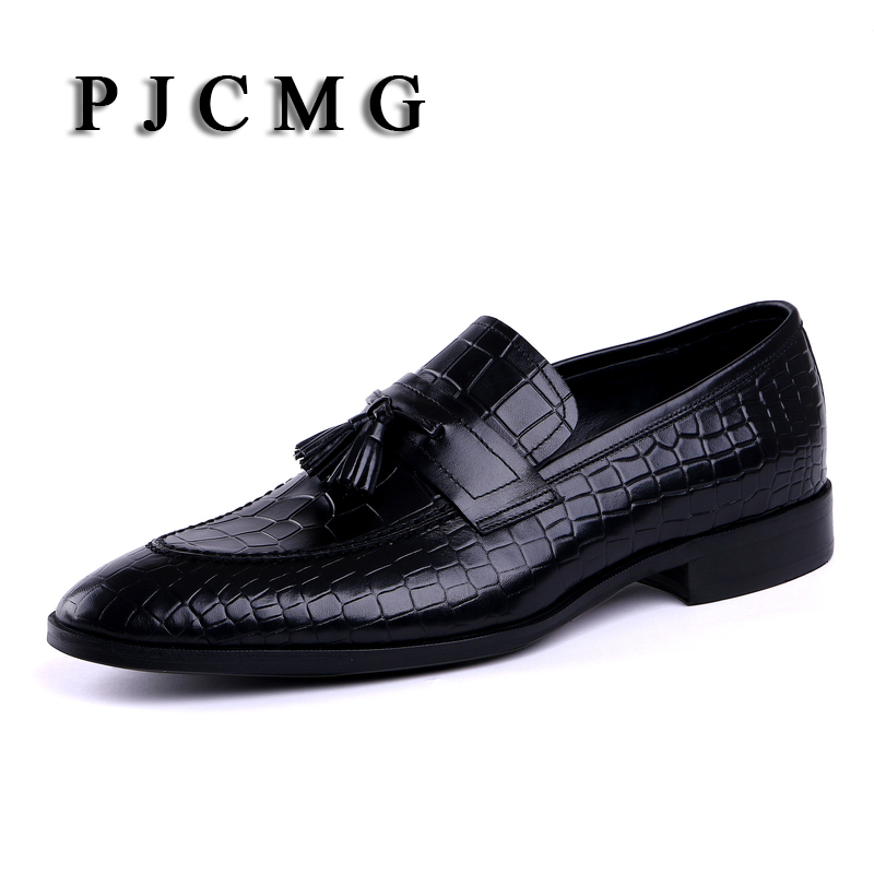 PJCMG New Men's Black/Red Genuine Crocodile Style Leather Pointed Toe Slip-On Dress Wedding Oxford Men Shoes With Tassel pjcmg new black red mens oxfords crocodile pattern slip on pointed toe genuine leather business formal men wedding shoes