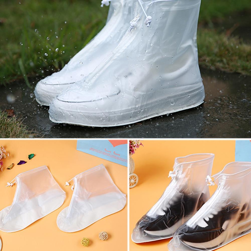1 Pair Waterproof Dot Zipper Rain Shoes Cover Boots PVC Reusable Bike Protector