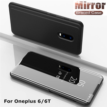 NTSPACE Smart APP Mirror View Flip Case For Oneplus 6T One plus 6 Leather Stand Holder Cover 1+6T