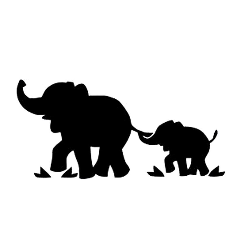 Outlined baby elephant.   Mom And Baby Elephant Outline